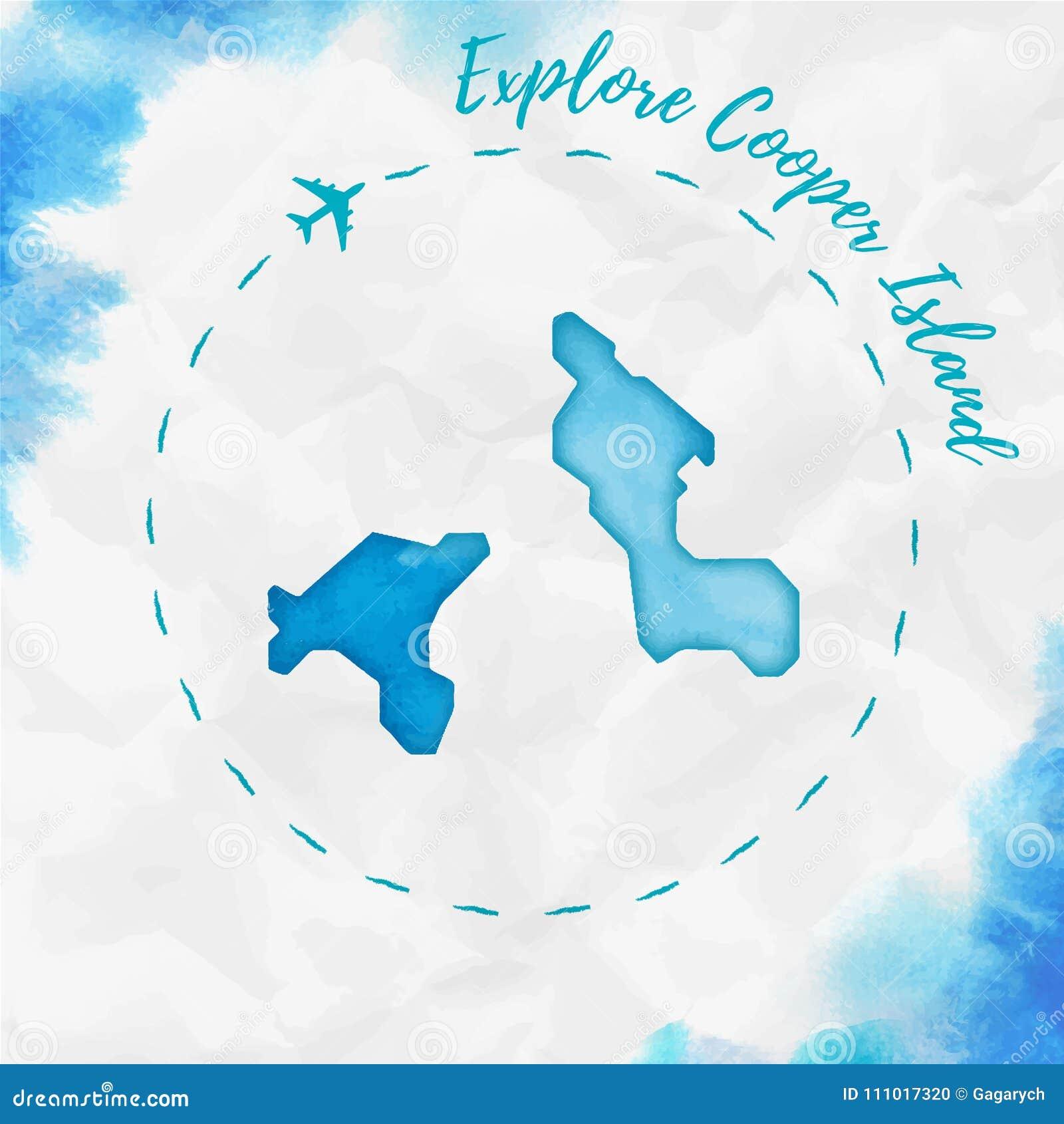 Cooper Island: Cooper Island Watercolor Island Map In Turquoise. Stock