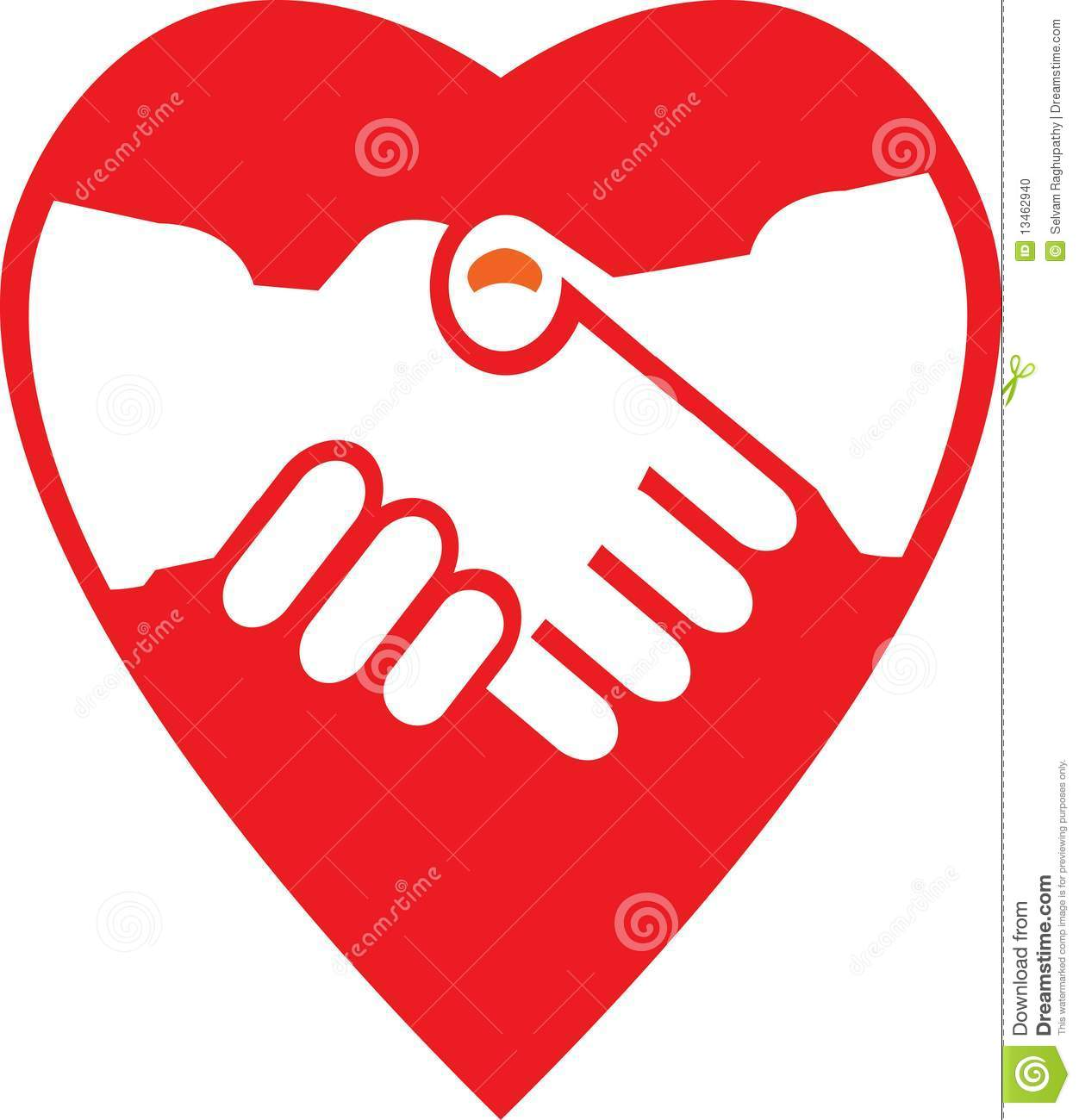 Cute handshaking image with heart symbol illustrated image.