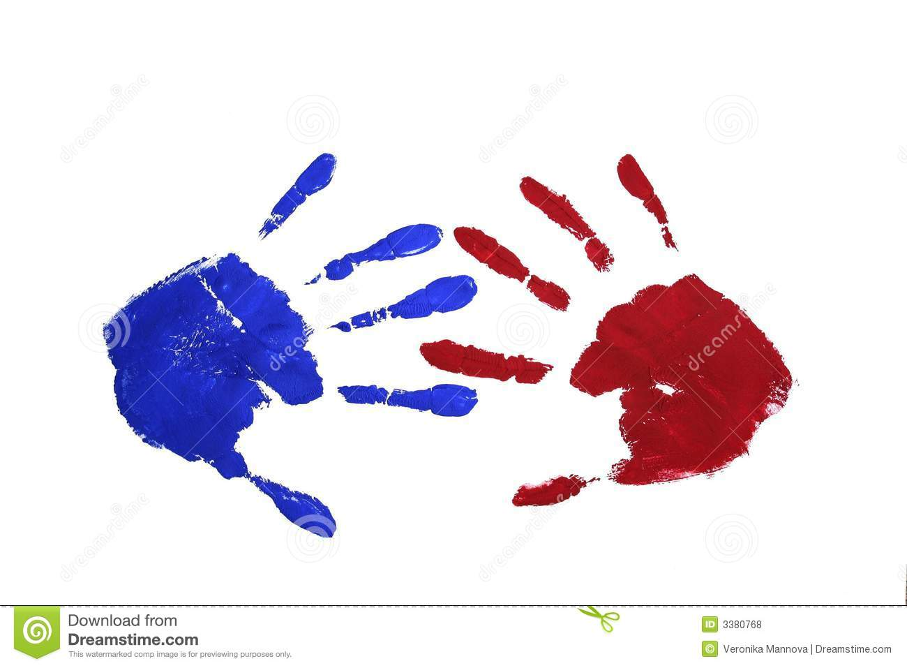 Marks of two hands (paint: red and blue) opposite each other with ...