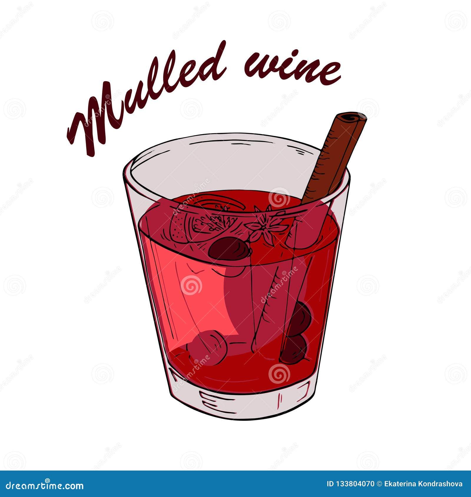 Copa de vino reflexionada sobre roja Bosquejo del vector