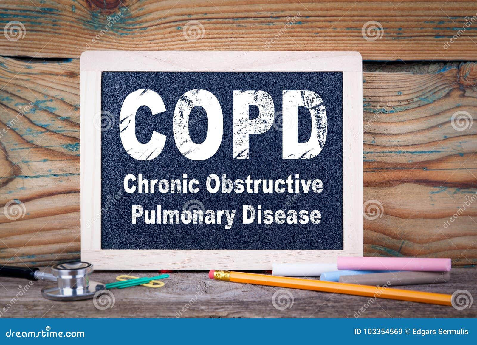 Copd, хроническое обструктивное легочное заболевание Доска на деревянной предпосылке
