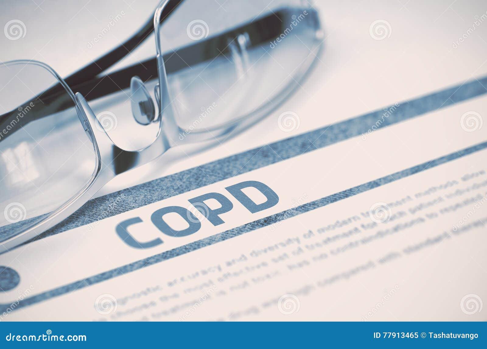 COPD - Printed Diagnosis. Medicine Concept. 3D Illustration.