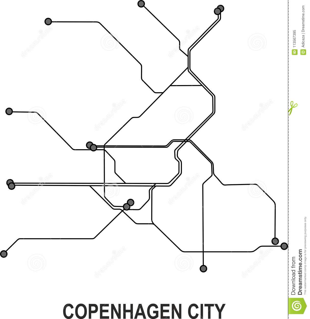 Subway Map Of Copenhagen.Copenhagen City Map Stock Vector Illustration Of Format 113567395