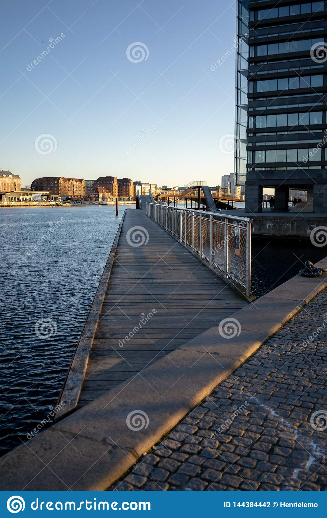 Copenhagen, Denmark - April 1, 2019: Kalvobod bridge which is a modern structure on constantly evolving architecture in Copenhagen