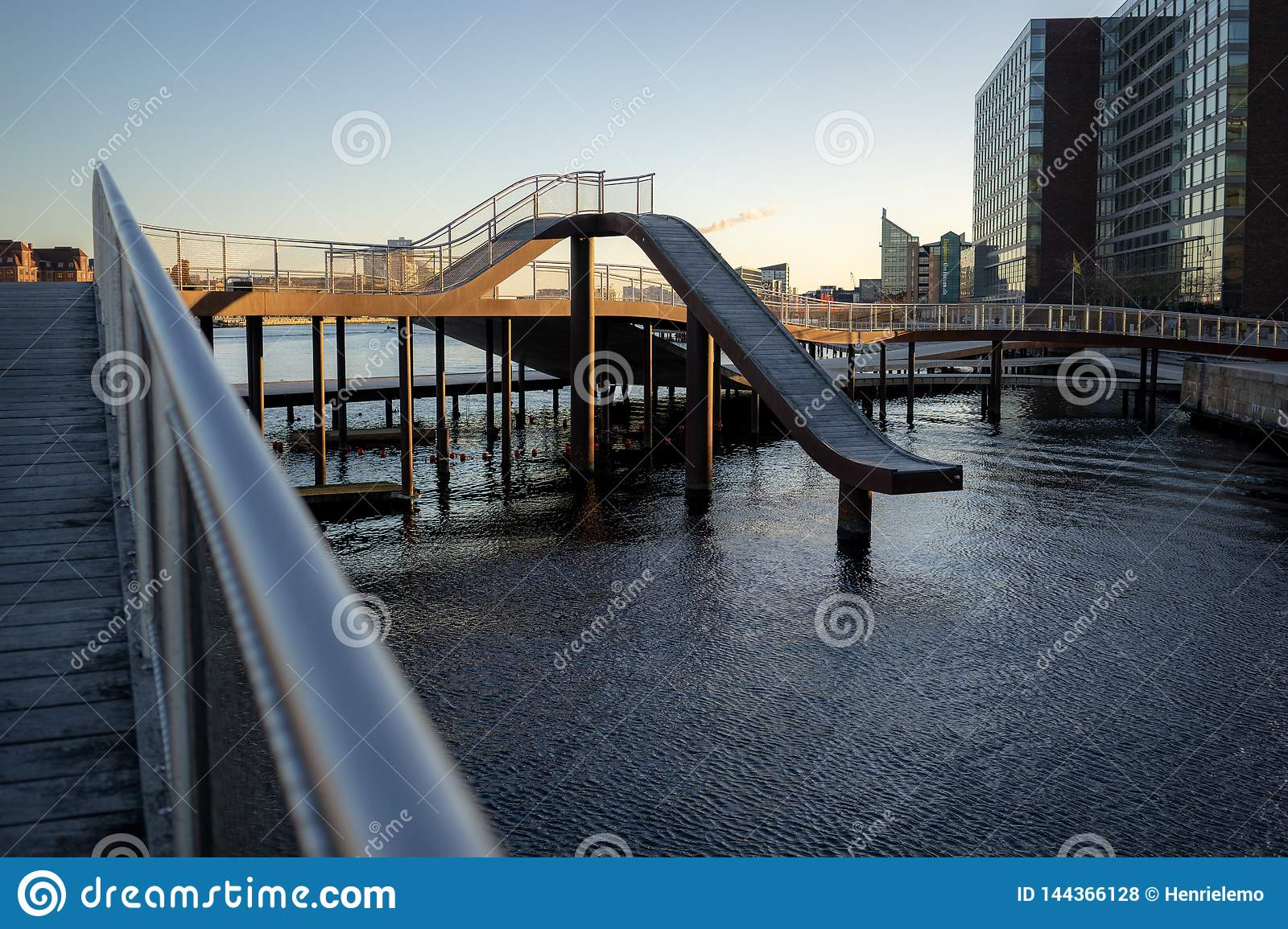 Copenhagen, Denmark - April 1, 2019: Kalvobod bridge which is a modern structure