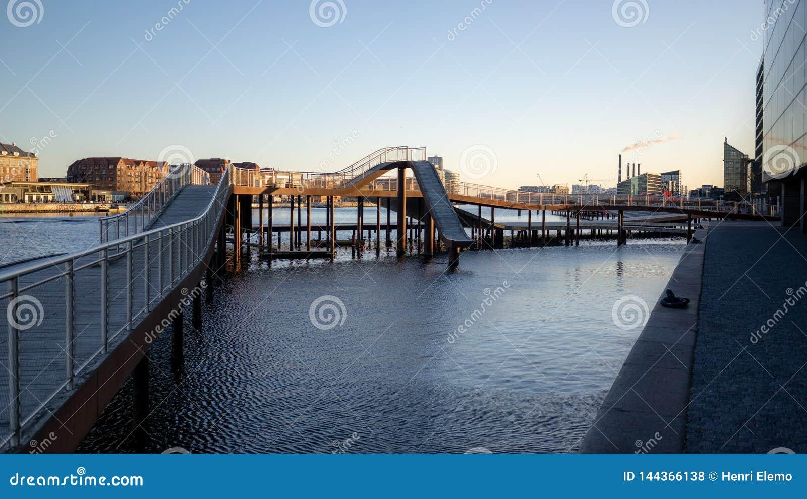 Copenhagen, Denmark - April 1, 2019: Kalvobod bridge which is a modern structure