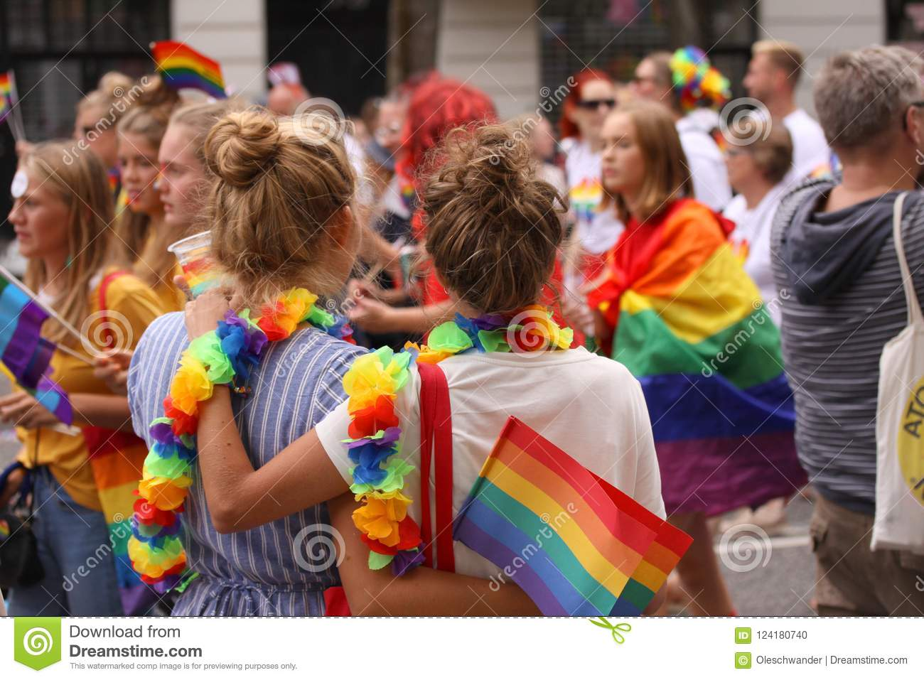 The annual Pride Parade LGBT. Impressions from gay and lesbians participating in the Gay Pride Parade with rainbow colors and flag
