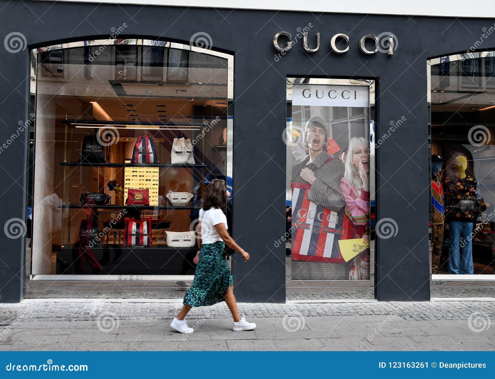 0394ad3ae7e Copenhagen Denmark 06.August 2018  .Gucci store on stroeget in dansh  capital. Photo.Francis Joseph Dean   Deanpictures.