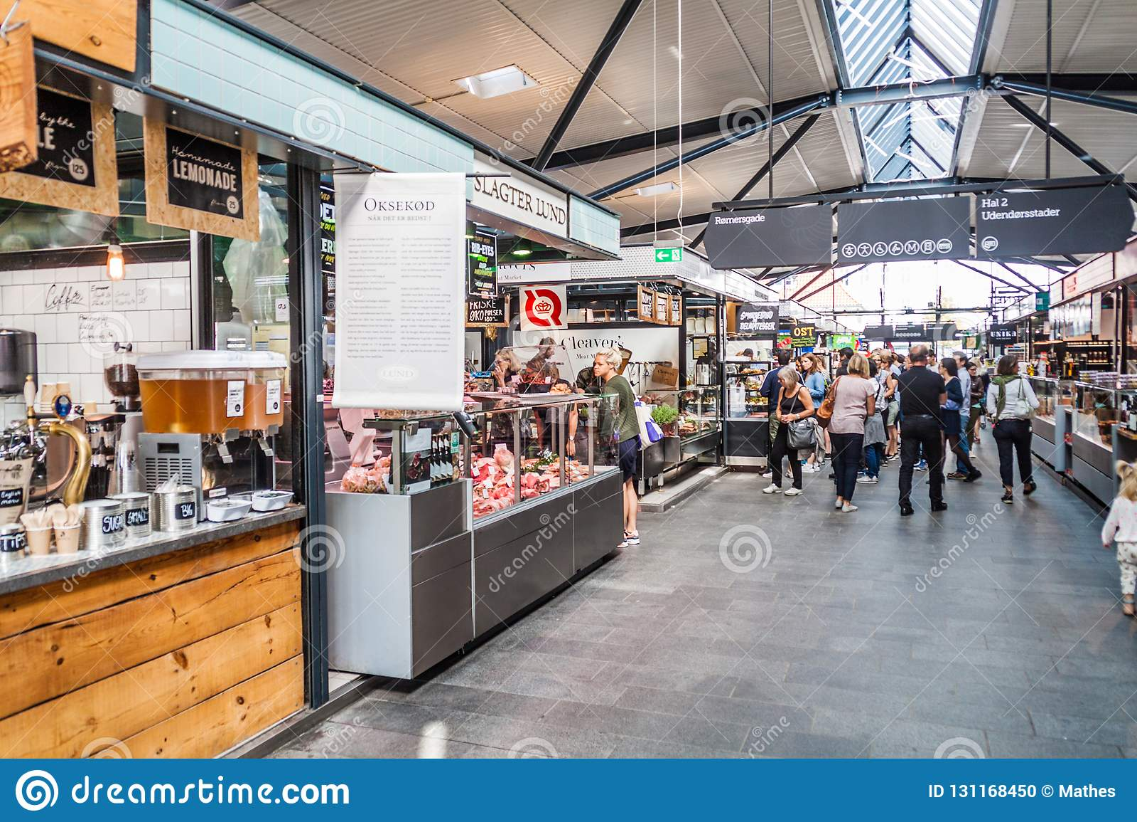 COPENHAGEN, DENMARK - AUGUST 28, 2016: Interior of Torvehallerne indoor food market in the centre of Copenhage