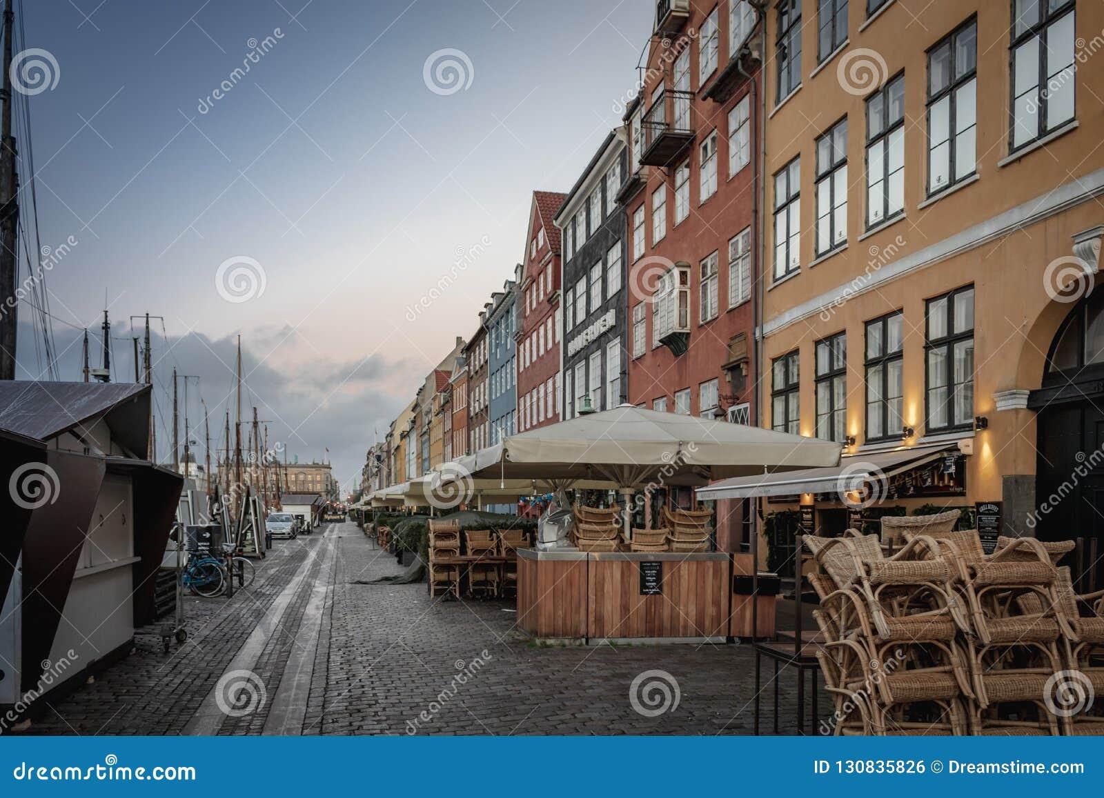 Copenhagen Nyhavn harbor in an early morning