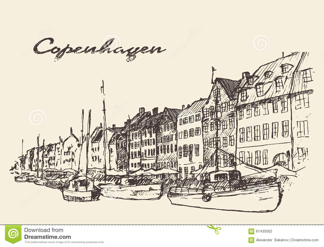 Copenhagen Denmark Illustration Hand Drawn Stock Vector - Image: 61435002