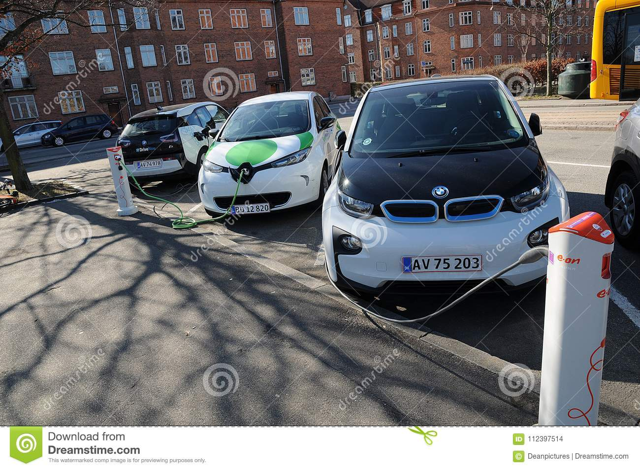 Electric Car For Rent Renualtzoe And Bmw Cars Editorial Stock Image