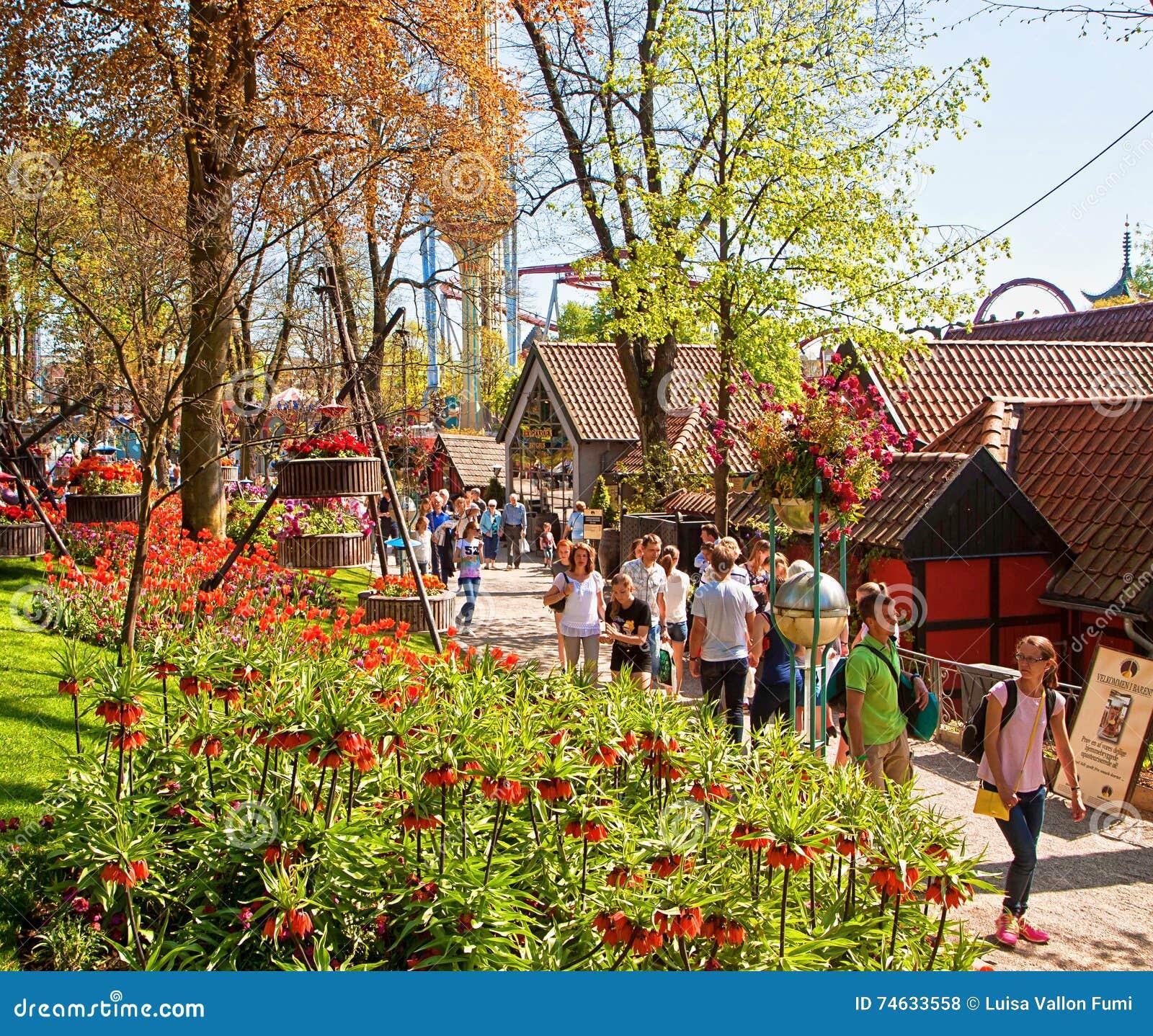 Copenhagen, Denmark - Visitors And Tourists At Tivoli Gardens ...