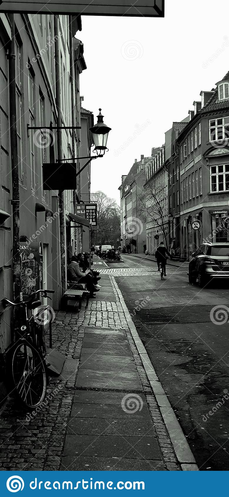 Danish capital street.The capital of Denmark. Bicycle and car on the street