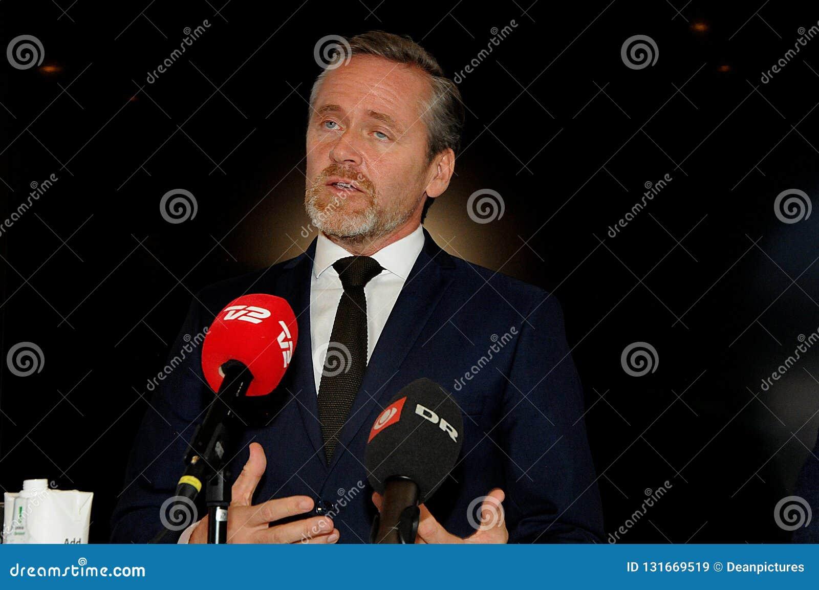 Copenhaghen/Danimarca 15 Novembre 2018 Il ministro danese di Anders Samuelsen dei ministri della Danimarca tre per gli affari est
