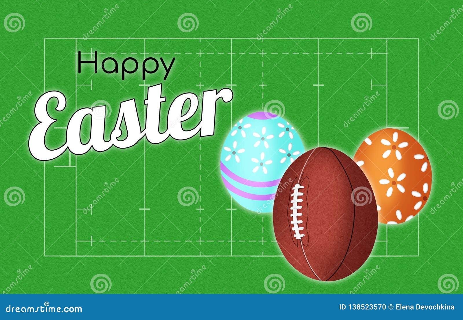 Copertura felice della cartolina d auguri di Pasqua della congratulazione di rugby sui precedenti del campo e con la palla sotto
