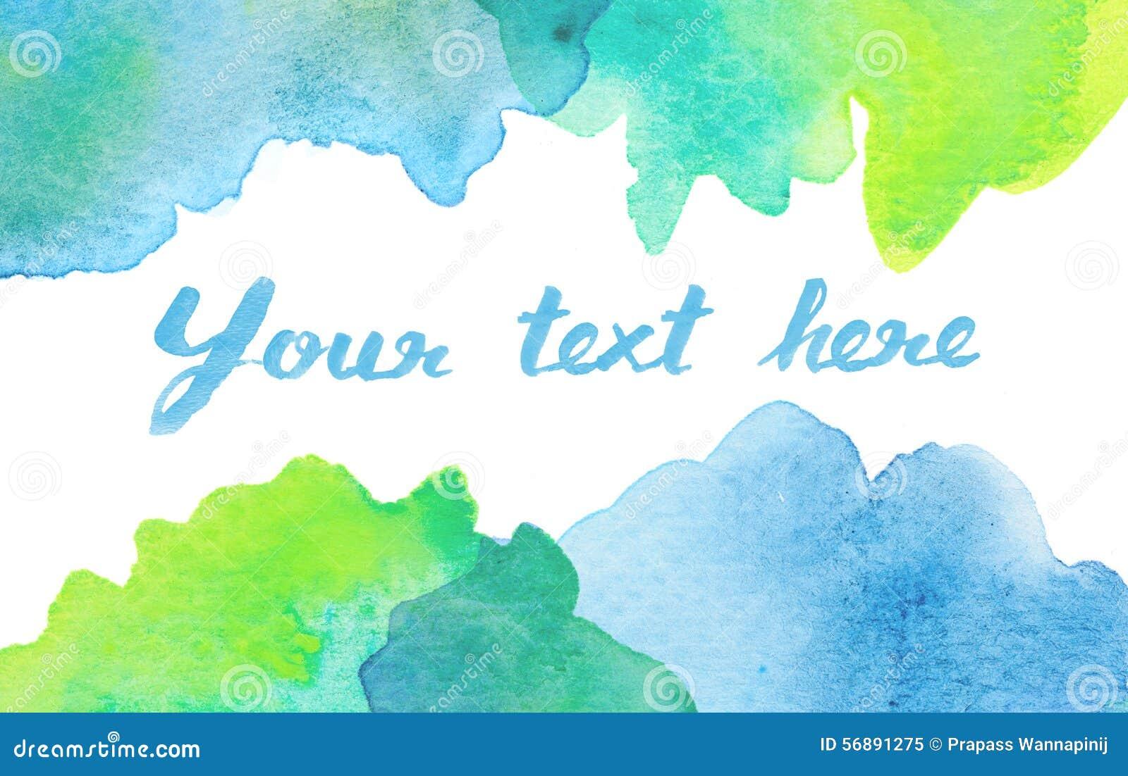 Copi lo spazio fra il fondo verde blu dell acquerello