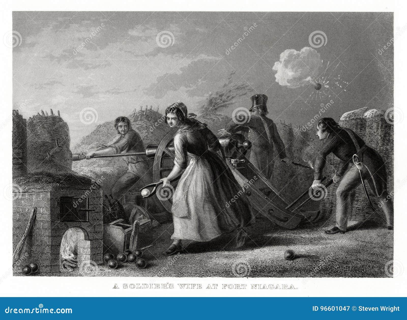 Copie 1860 antique : Une épouse du ` s de soldat au fort Niagara, guerre de 1812 par T marcheur