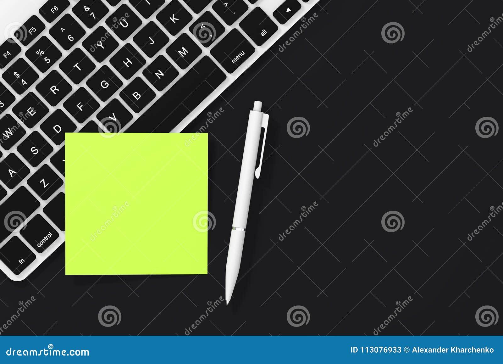 Copie o papel de nota pegajoso vazio do espaço com pena e teclado 3d ren