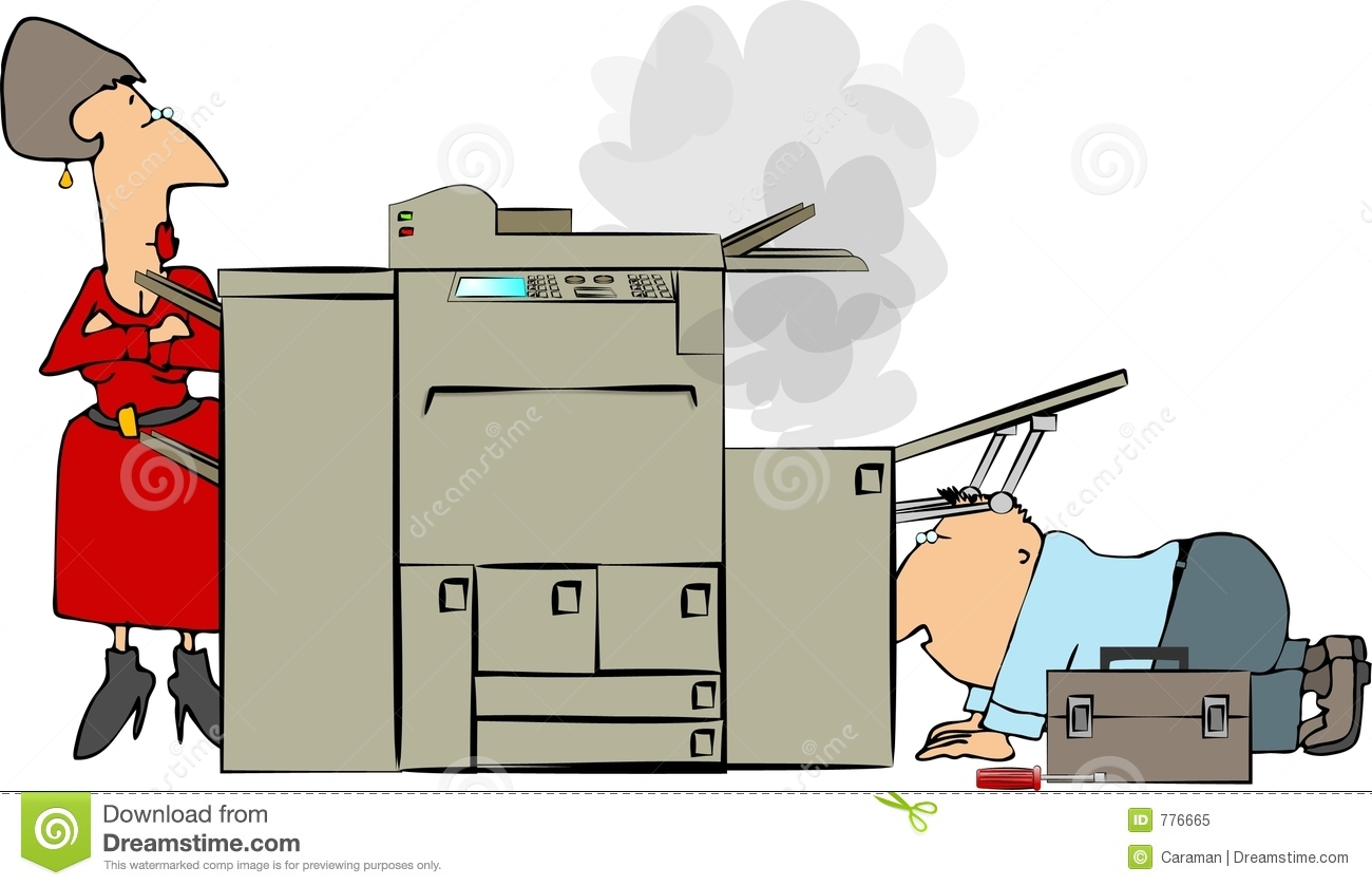 This illustration depicts a repairman fixing an office copier while a ...