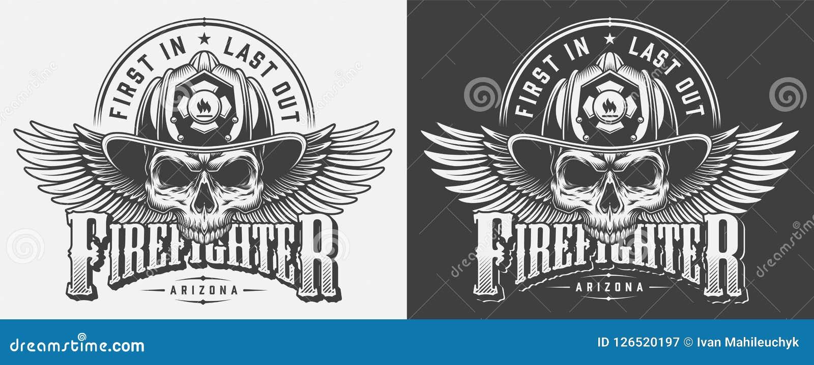 Copies de monochrome de pompier de vintage