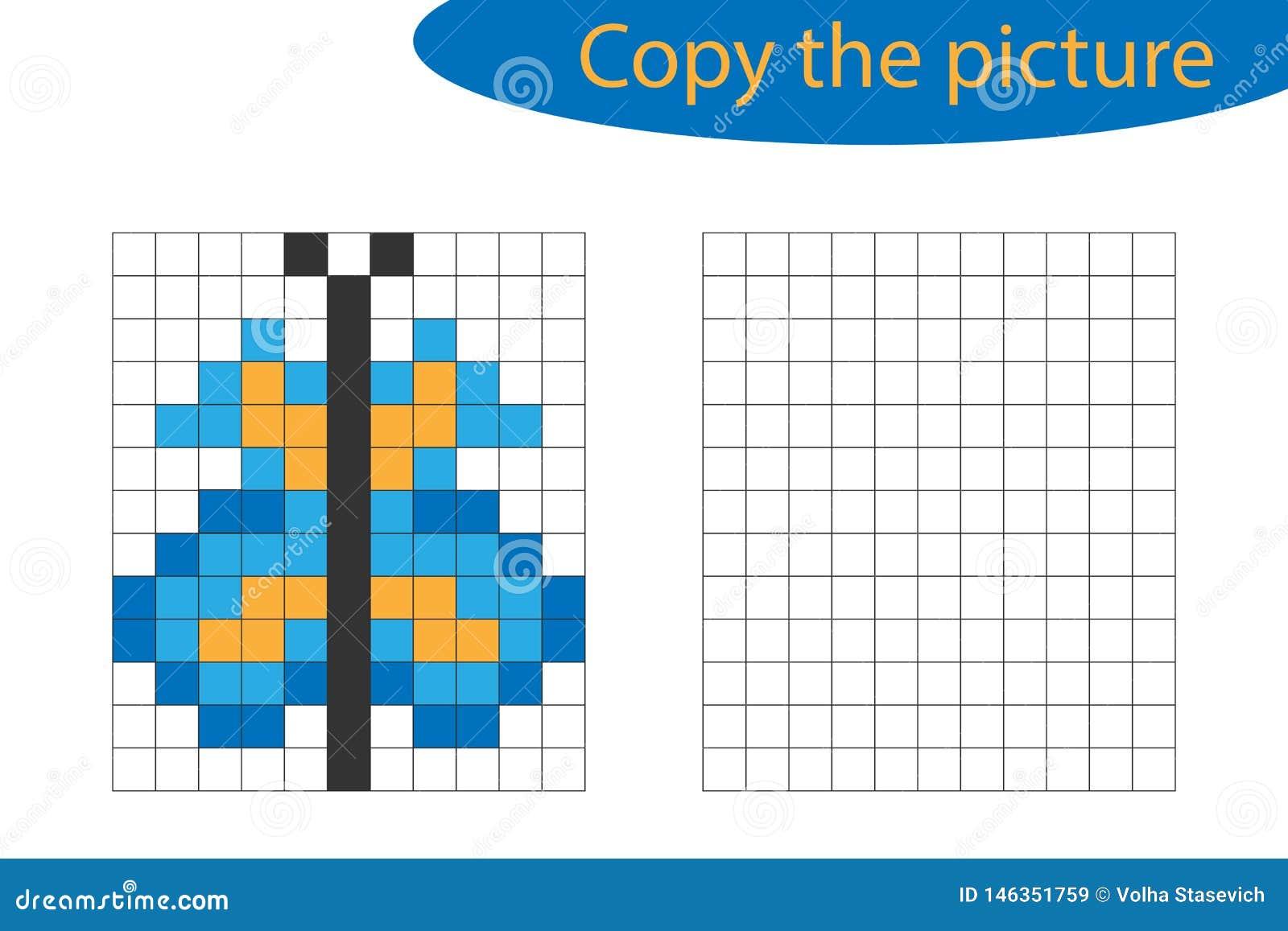 Copiez Limage Art De Pixel Bande Dessinée De Papillon La