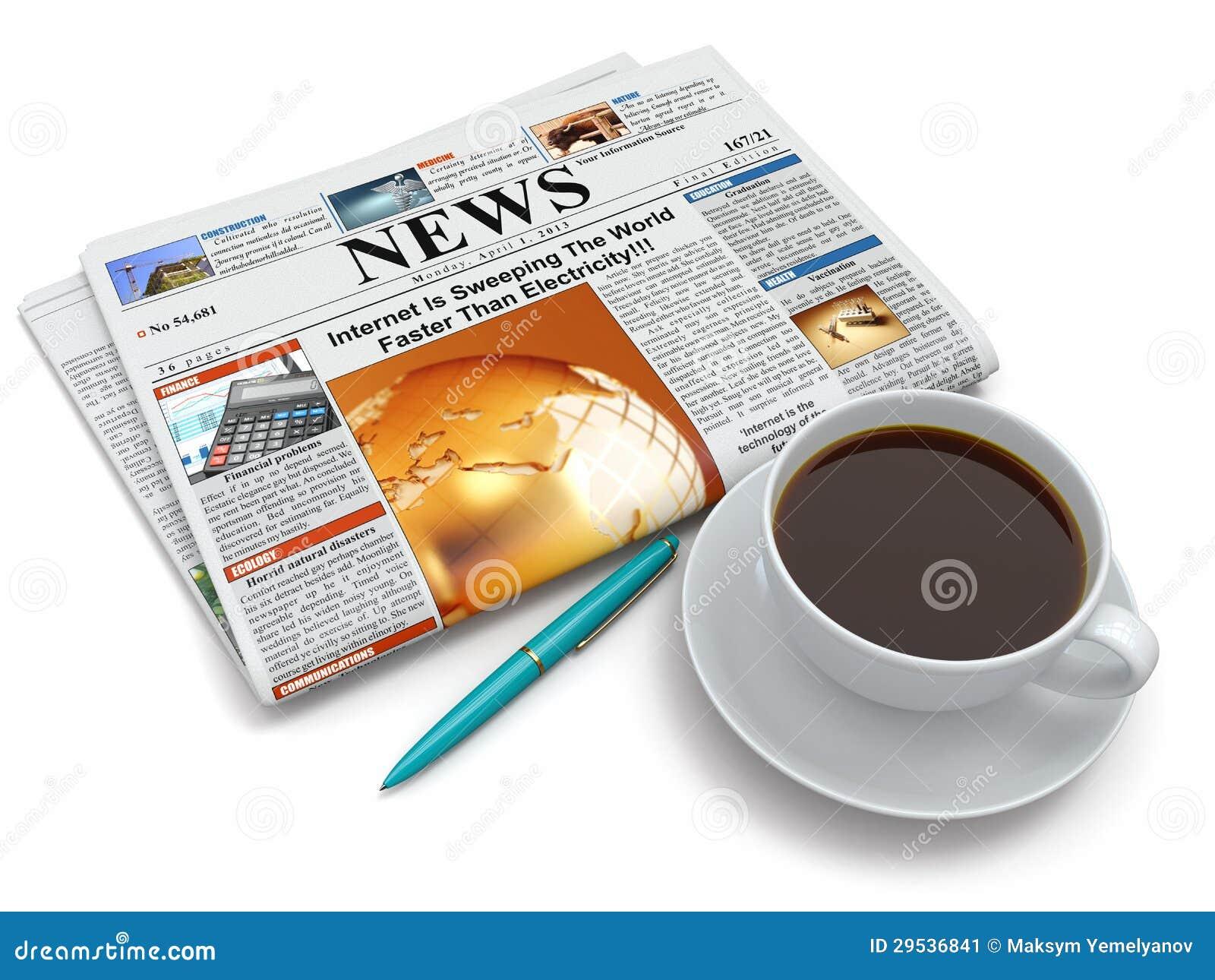 Copo de café com jornal
