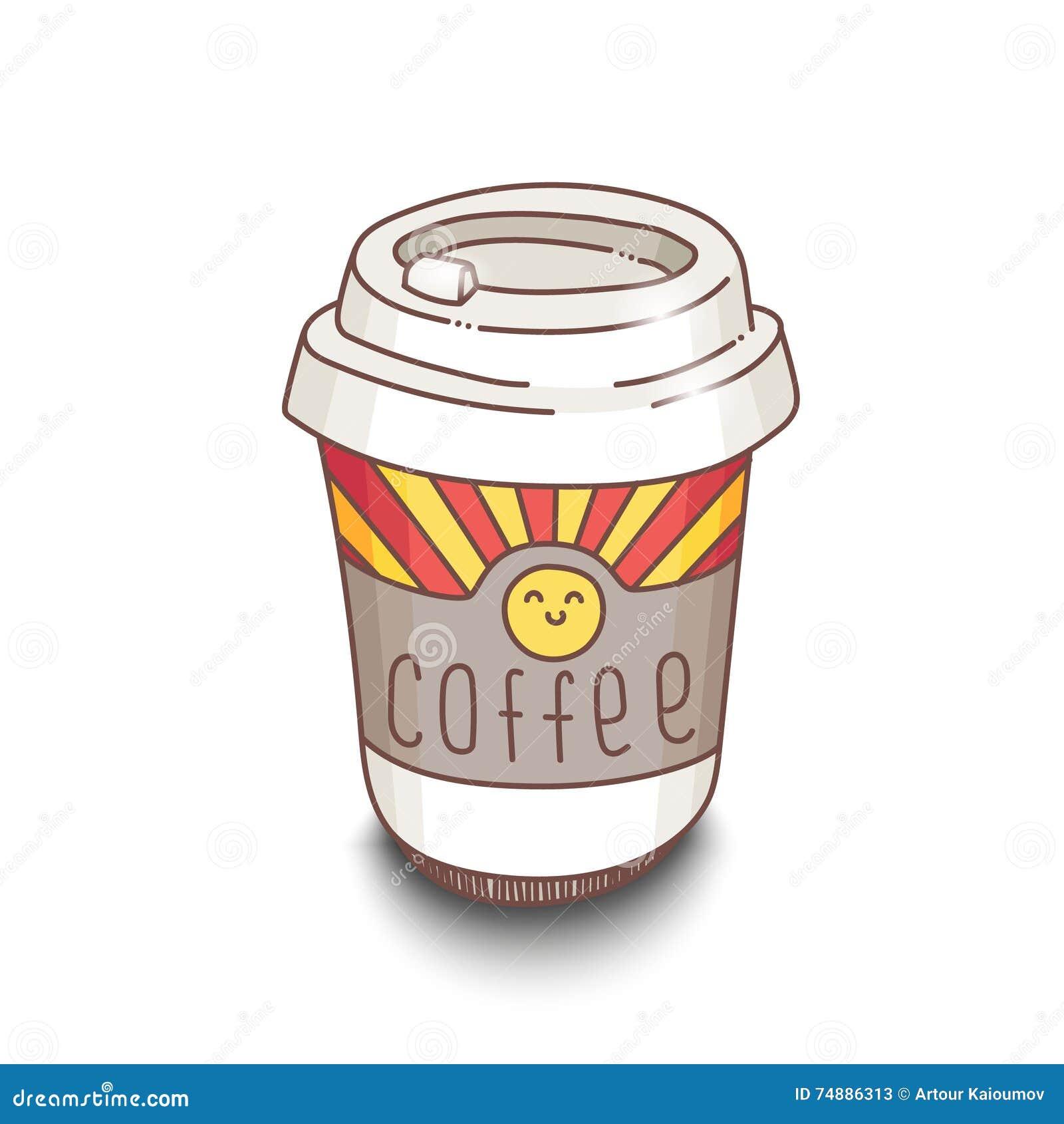 Copo de café desenhado à mão bonito do estilo dos desenhos animados com sombra no fundo branco