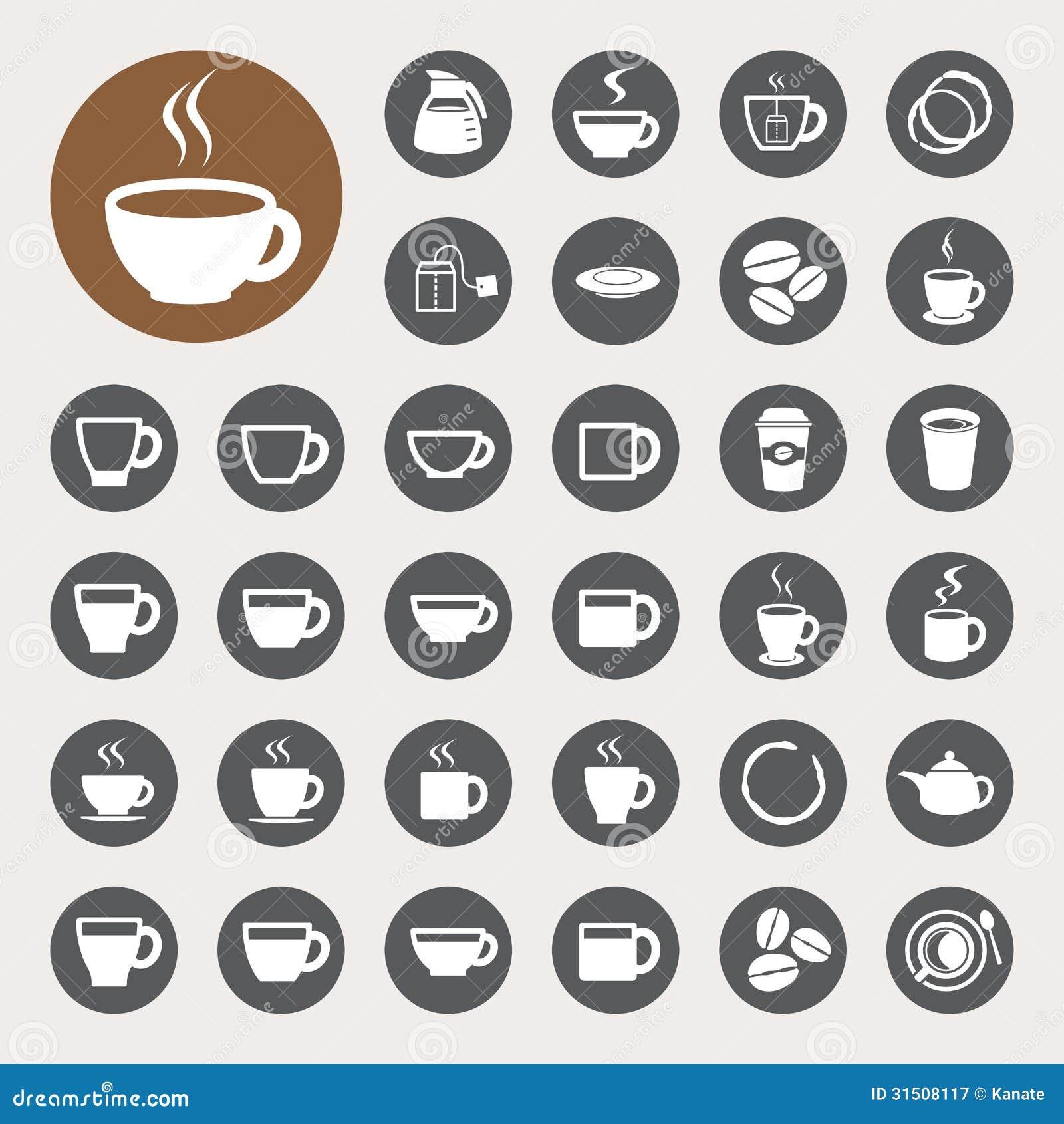Copo de café e de copo de chá grupo do ícone.
