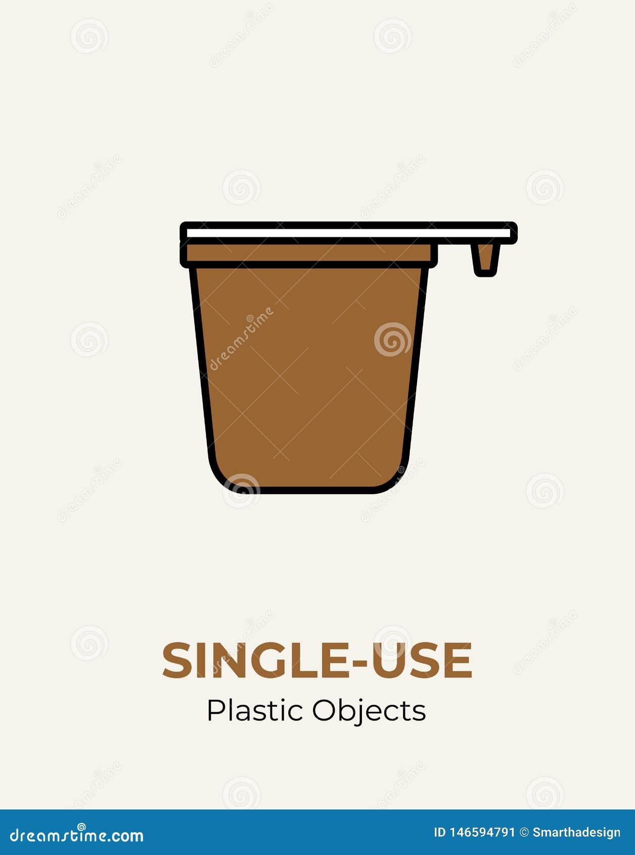 Copo de café plástico do Único-uso com punho Ilustração do vetor de reciclar o copo de café plástico Logotipo liso do empacotamen