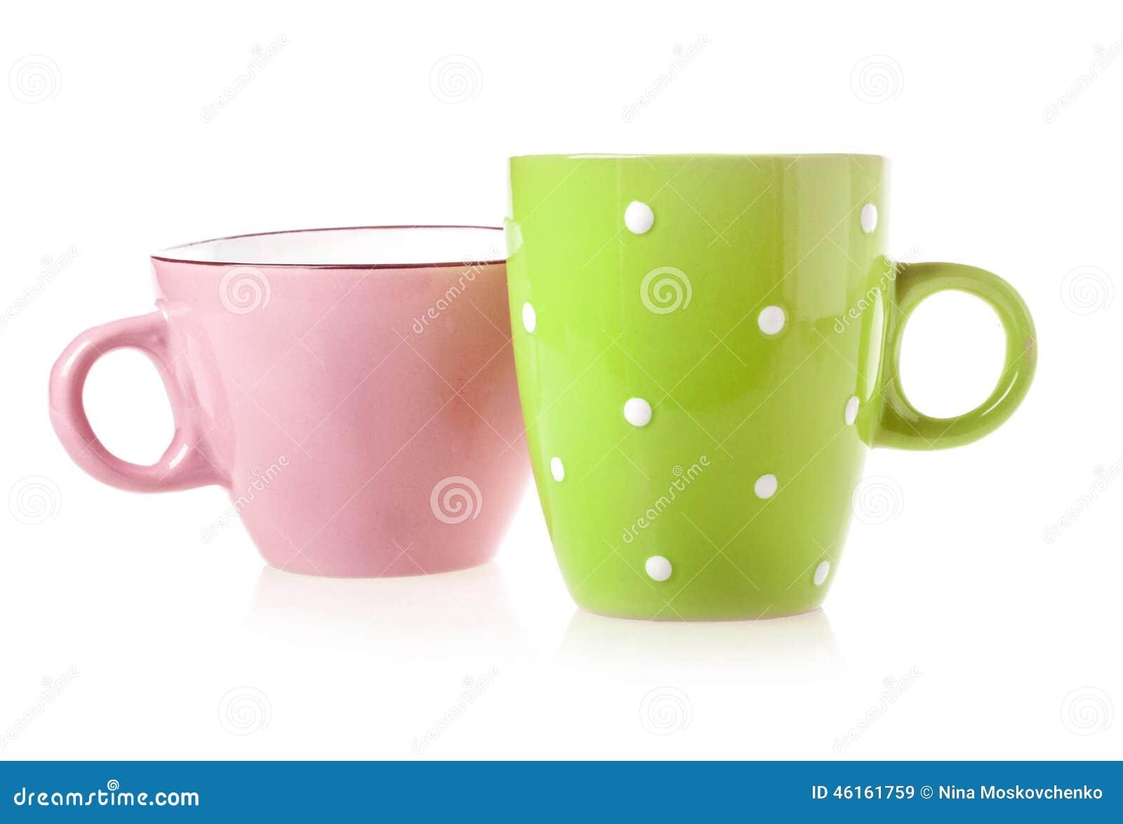 Copo de café verde e cor-de-rosa
