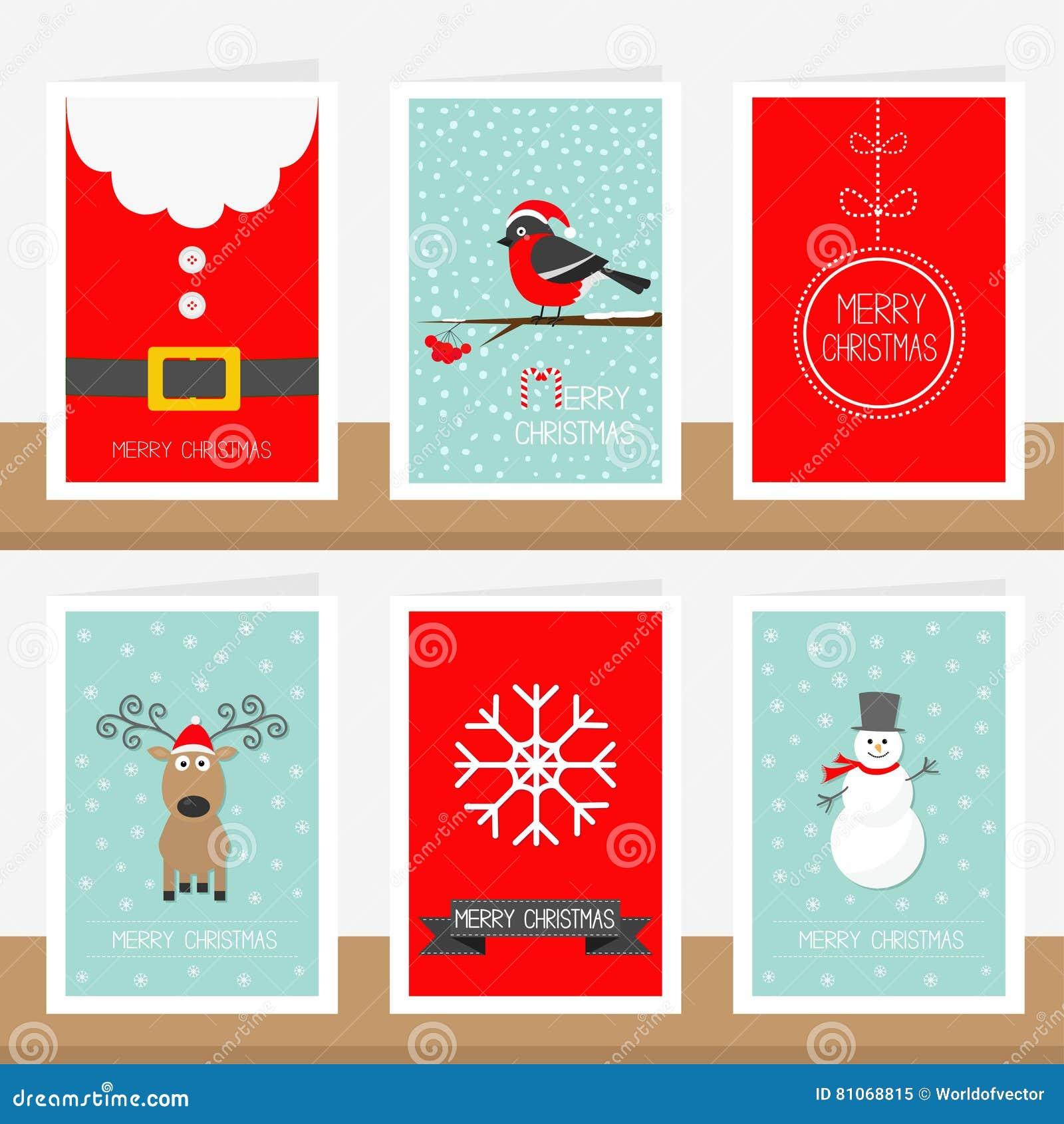 Copo de nieve, cinta, correa del traje de Santa Claus, piñonero animal, bola, muñeco de nieve, ciervo Texto de la Feliz Navidad S