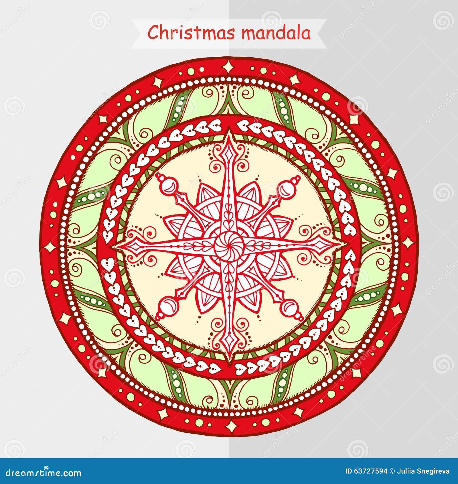 Copo De Nieve Del Garabato En Mandala étnica De La Navidad ...