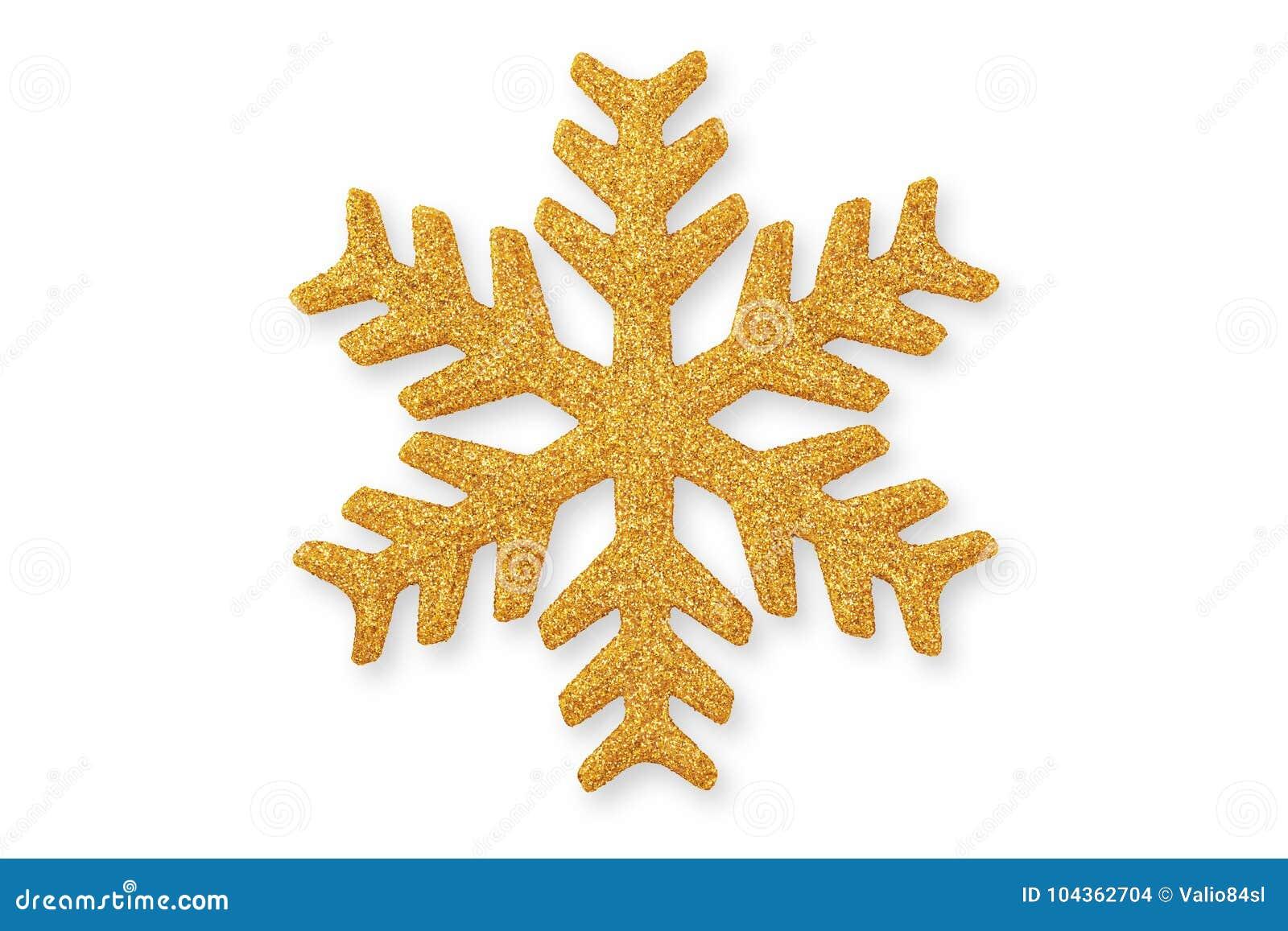 Copo de nieve de oro de la Navidad, ornamento de la Navidad en pizca