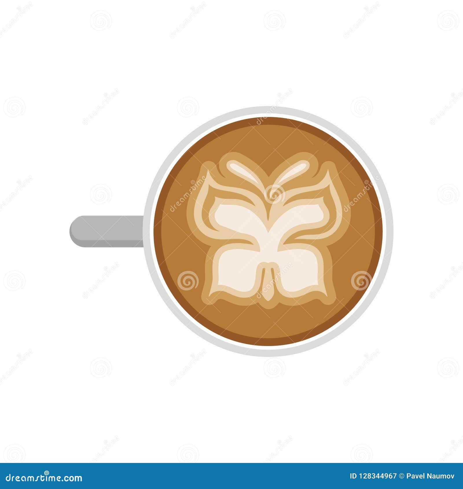 Copo do cappuccino quente com arte do latte na forma da borboleta Vetor liso para anunciar o cartaz da cafetaria