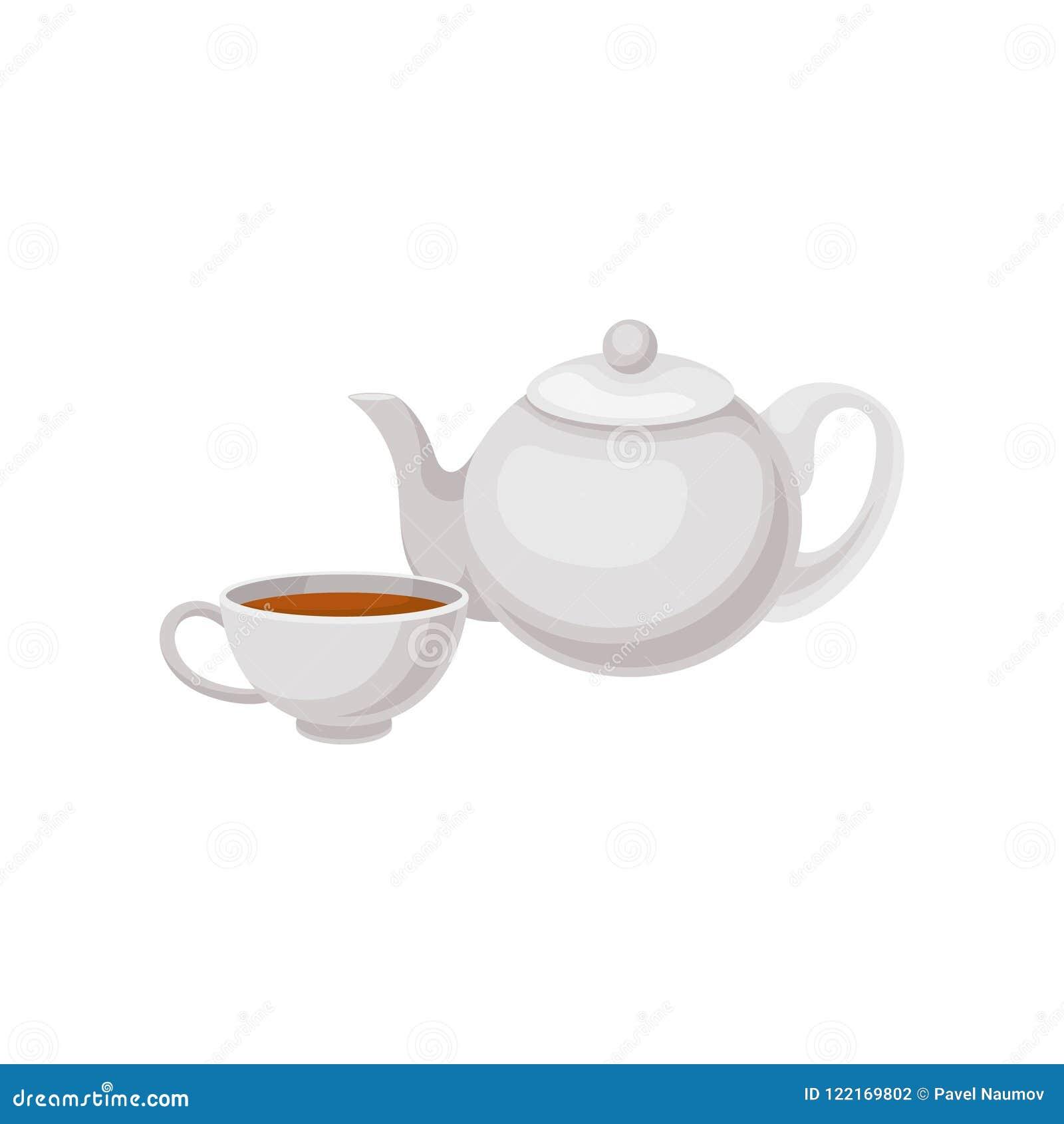 Copo do chá e do bule Bebida tradicional do inglês Elemento liso do vetor para anunciar o menu do cartaz, do café ou do restauran