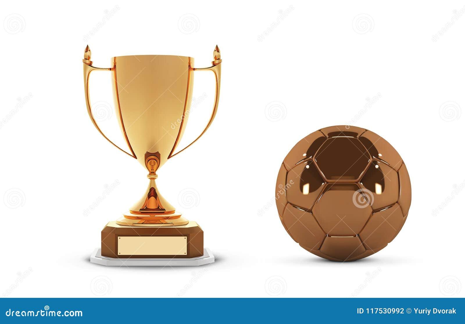 0b04a4d3f45e3 Copo dourado realístico do troféu com bola do ouro Copo do vencedor e bola  do futebol