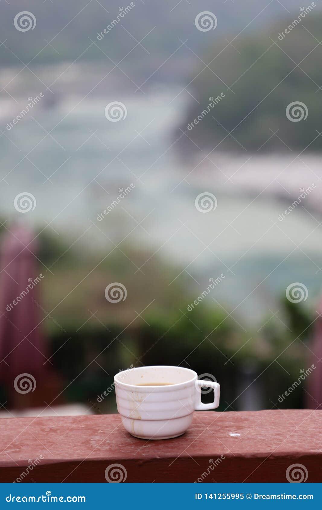 Copo quente do chá em uma manhã nebulosa com a vista
