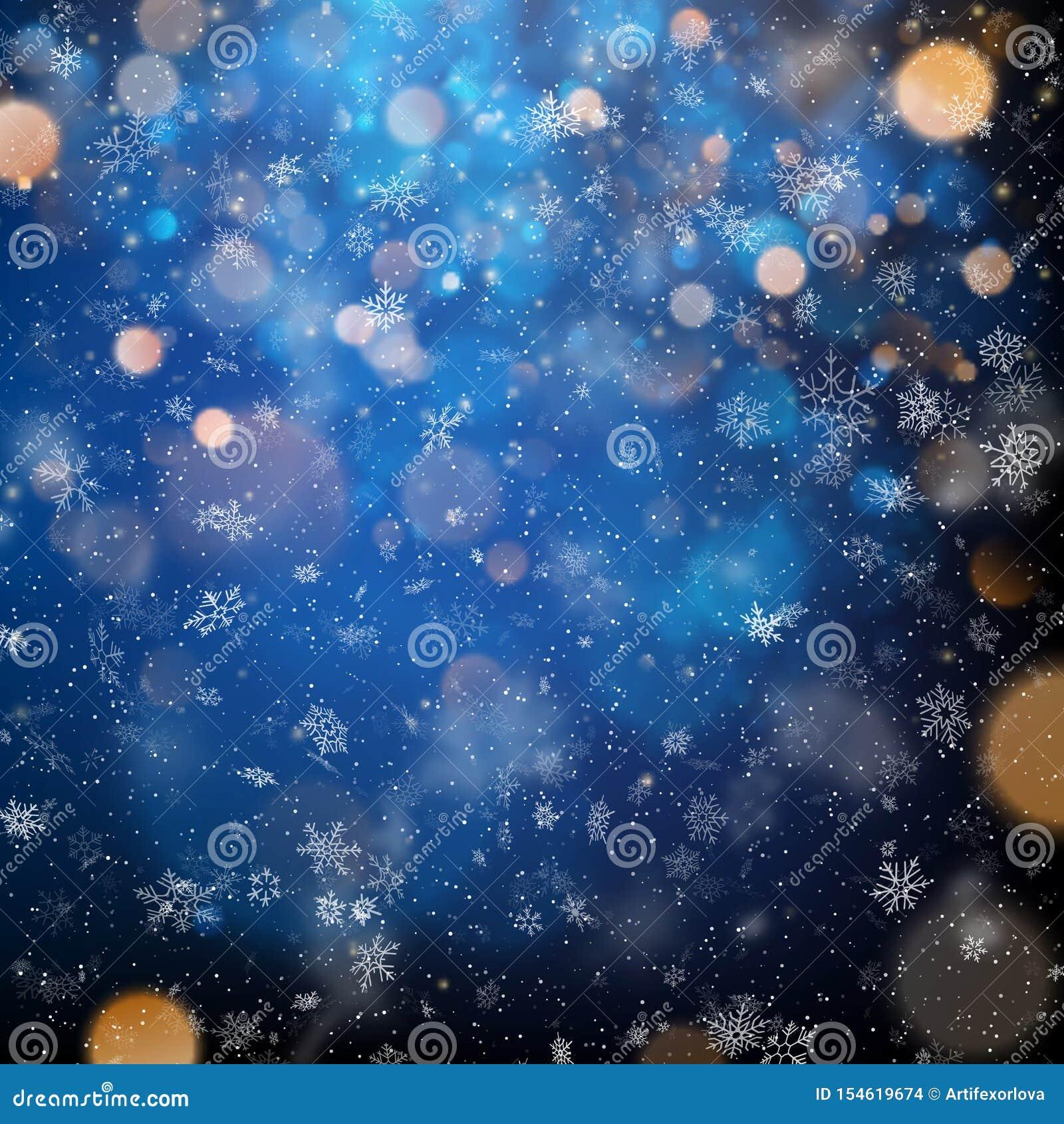 Copos de nieve borrosos abstractos de la Feliz Navidad y plantilla ligera del bokeh EPS 10