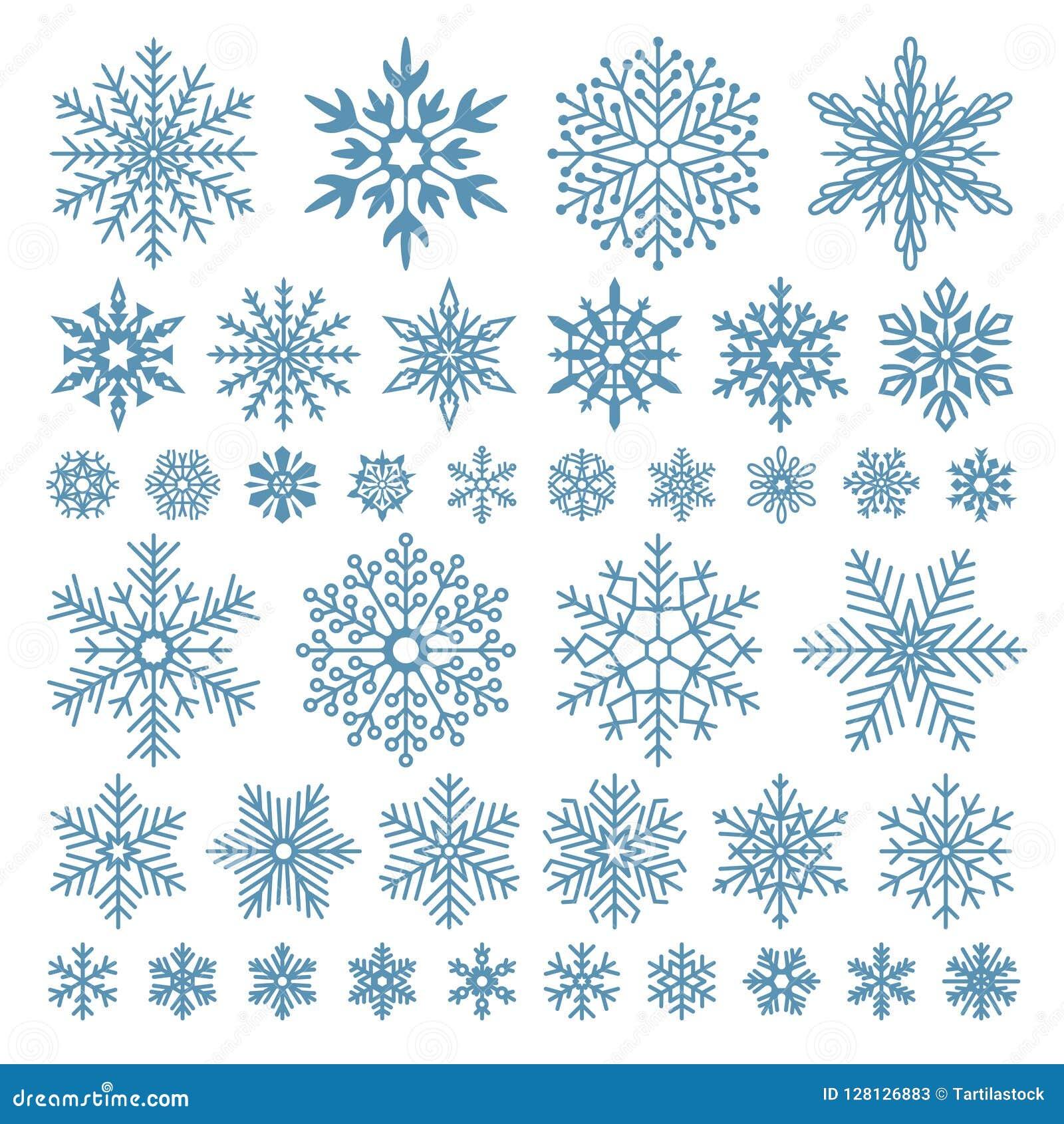 Copos de nieve planos Cristales del copo de nieve del invierno, formas de la nieve de la Navidad y sistema de símbolo fresco hela