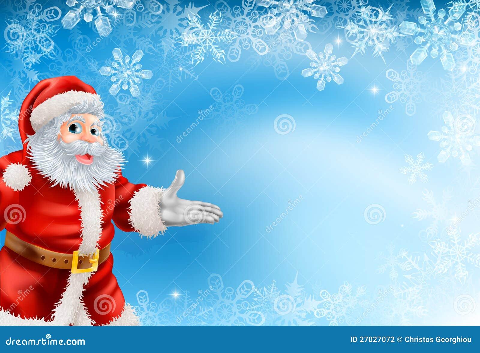 Copos de nieve y fondo azules de Santa