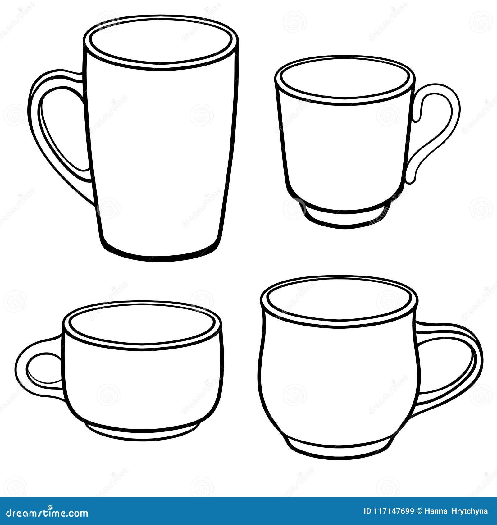 Copos E Canecas Para O Cafe De Formas Diferentes Um Grupo De