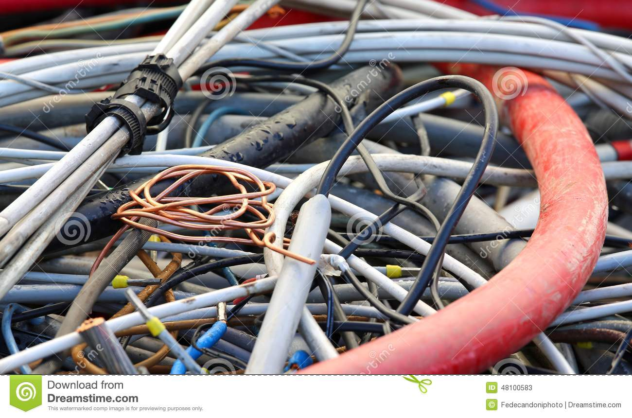 Copper Cable And Electric Cables In A Landfill For Recycling Stock ...