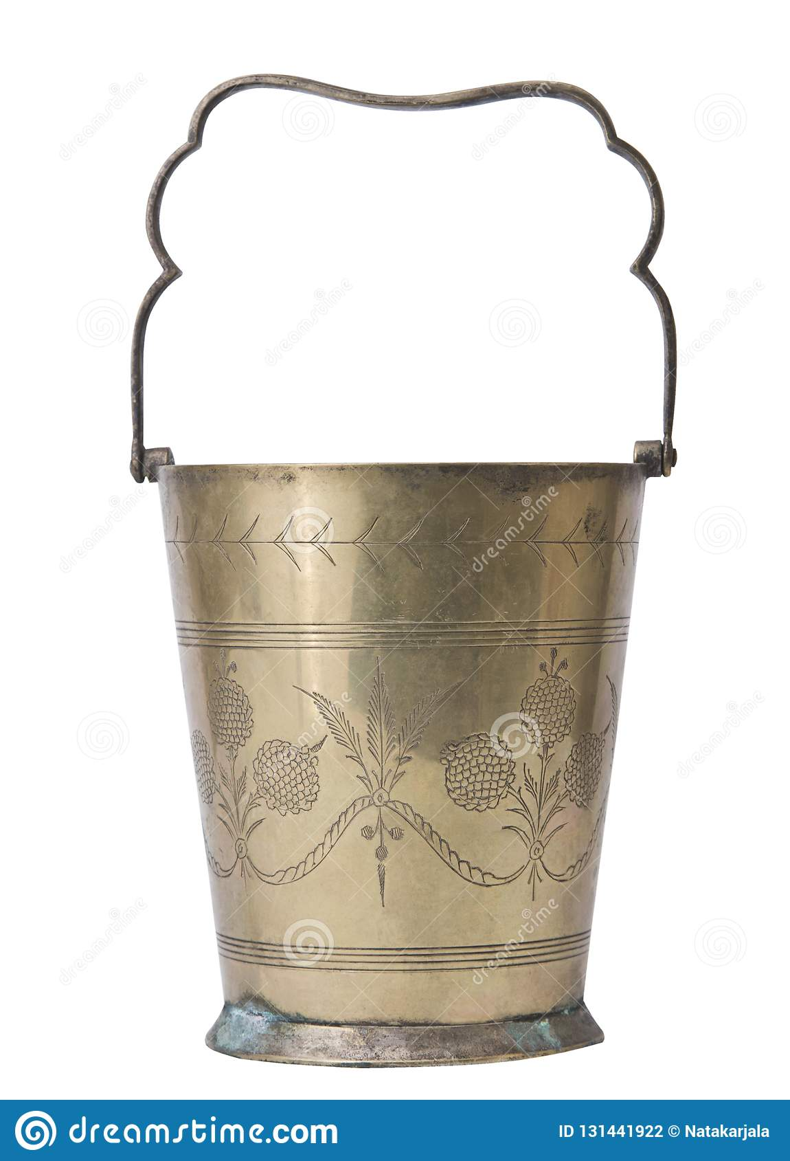 Copper champagne bucket isolated on white background