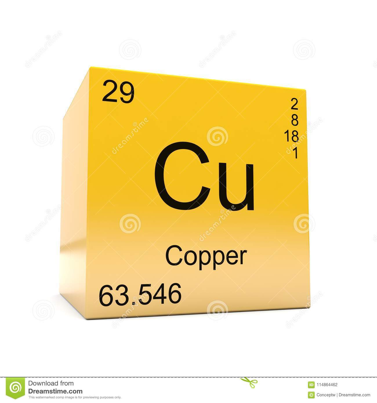 Copper Chemical Element Symbol From Periodic Table Stock