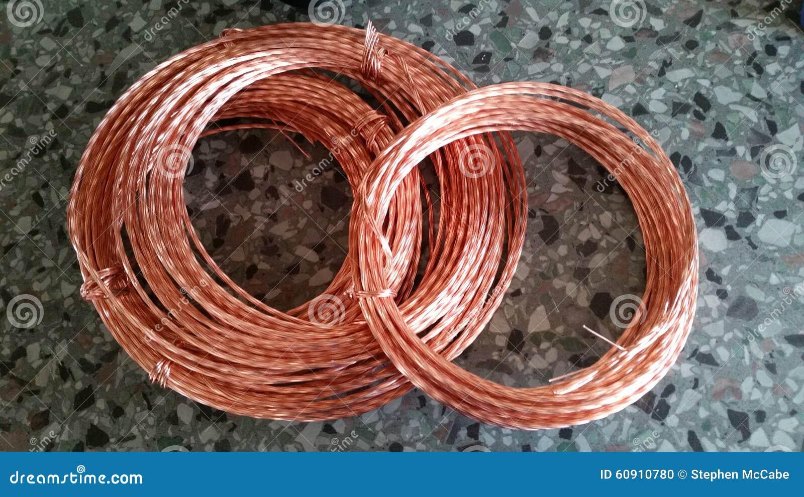 Copper Wire Identification : Copper coils stock photo image