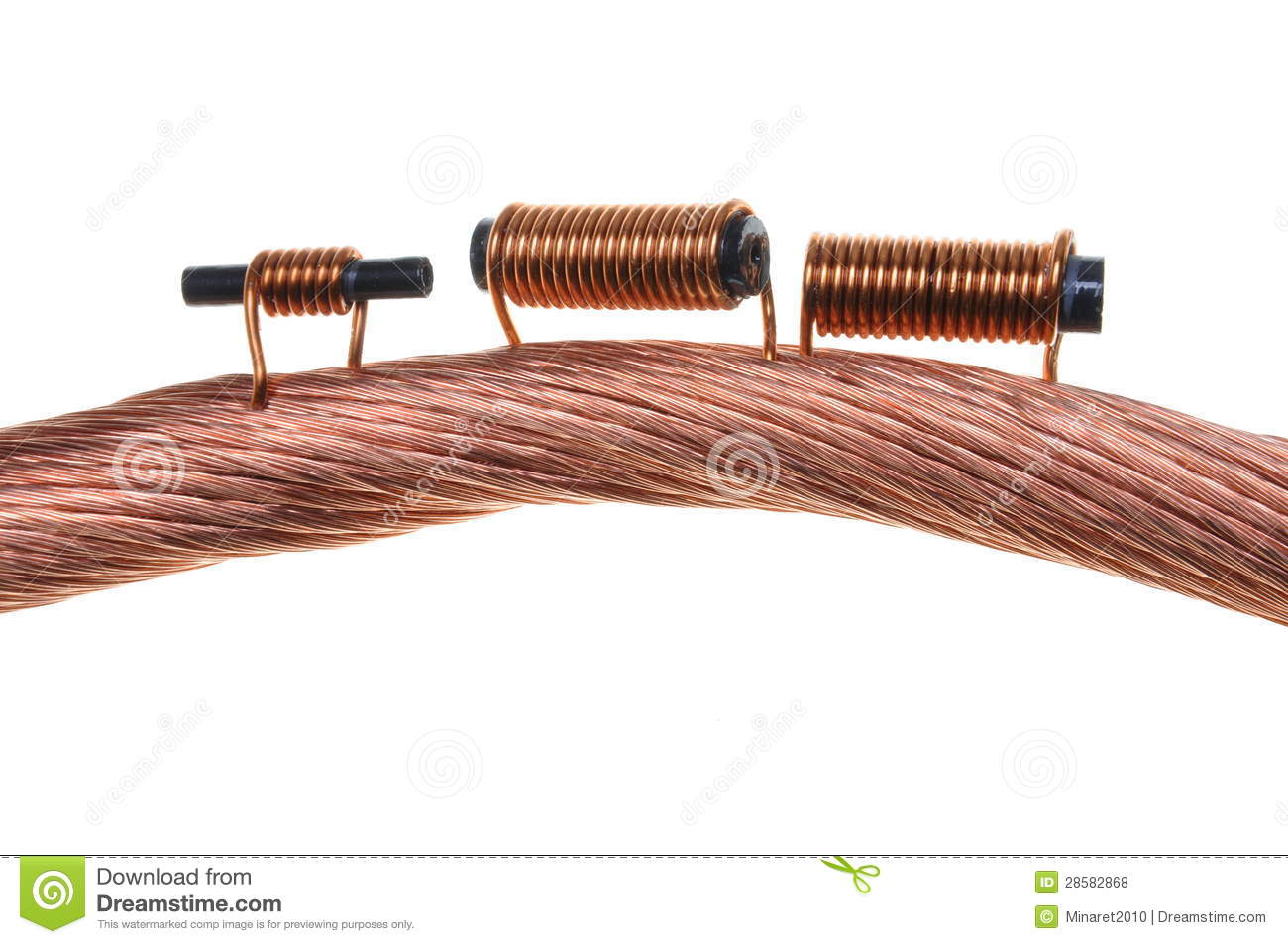 Copper Cable Market Share : Copper coils on white background royalty free stock photo
