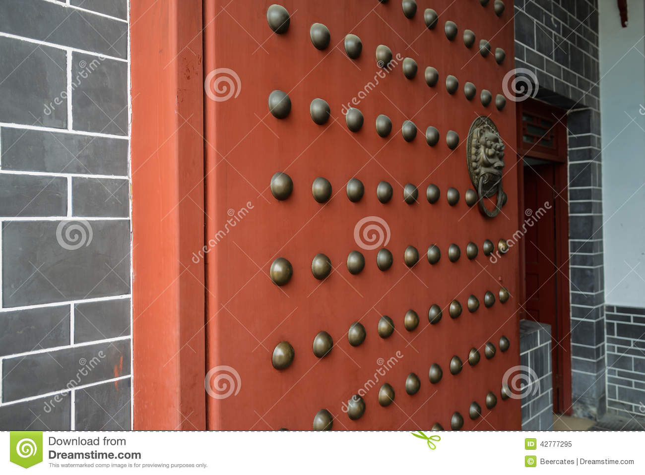 Copper Door Studs Of Gate Chengdu China Stock Photo