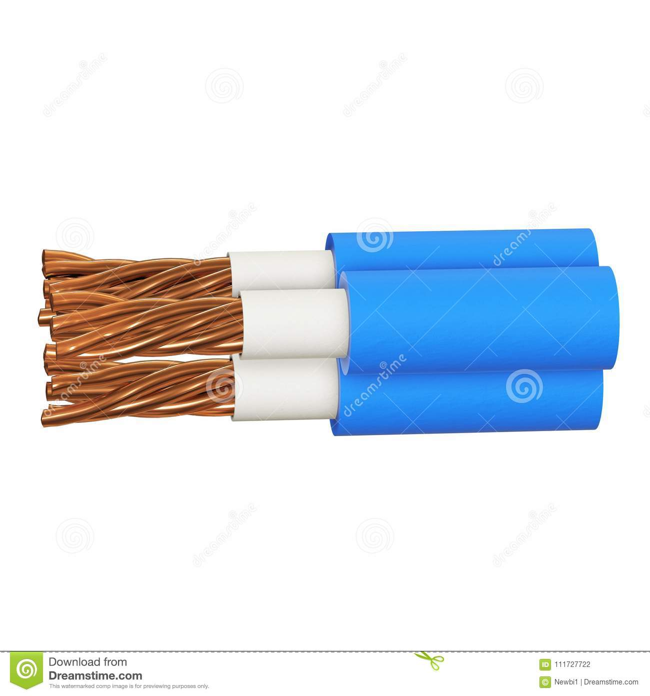 Copper electrical cable 3d stock illustration. Illustration of ...