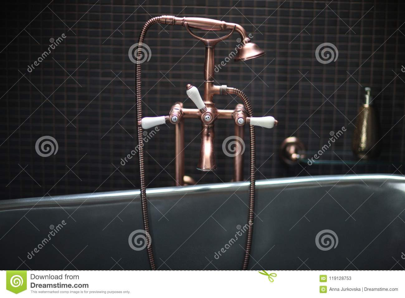 Copper Faucet Mixer With Porcelain Handles Stock Image - Image of ...